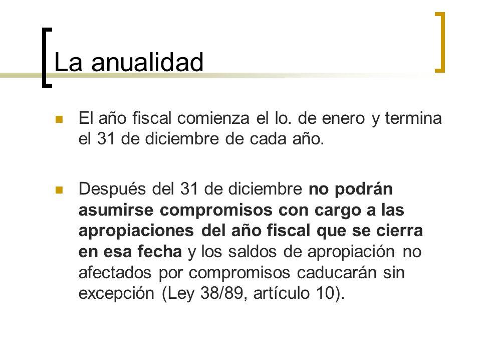 La anualidad El año fiscal comienza el lo. de enero y termina el 31 de diciembre de cada año.