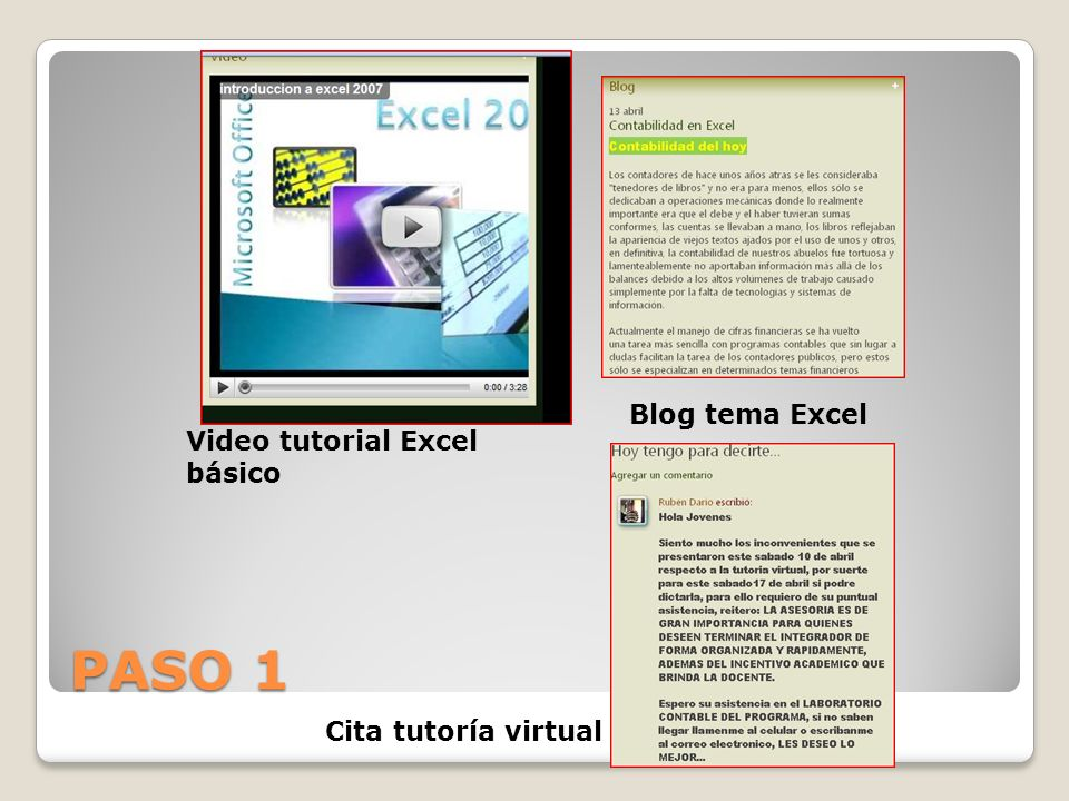 PASO 1 Blog tema Excel Video tutorial Excel básico