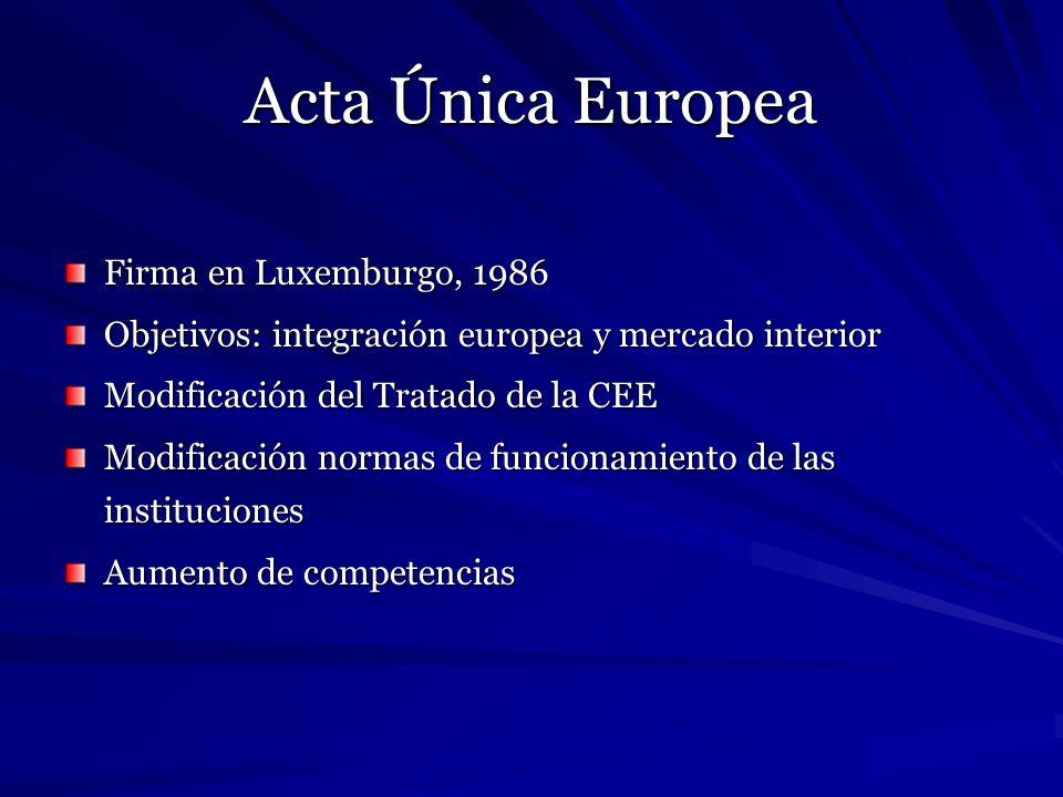 Acta Única Europea Firma en Luxemburgo, 1986
