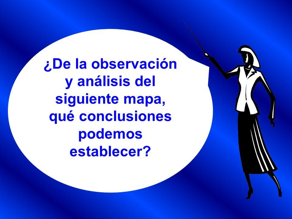 ¿De la observación y análisis del siguiente mapa, qué conclusiones podemos establecer