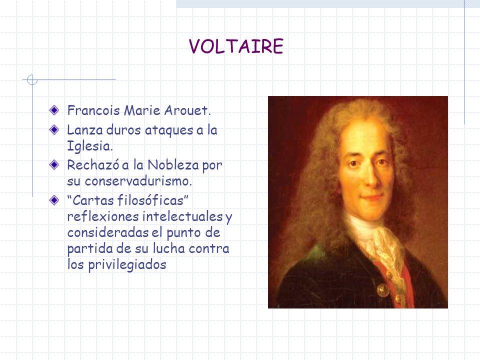 VOLTAIRE Francois Marie Arouet. Lanza duros ataques a la Iglesia.