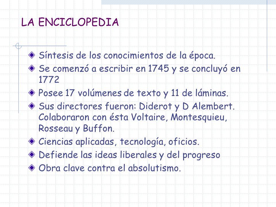 LA ENCICLOPEDIA Síntesis de los conocimientos de la época.