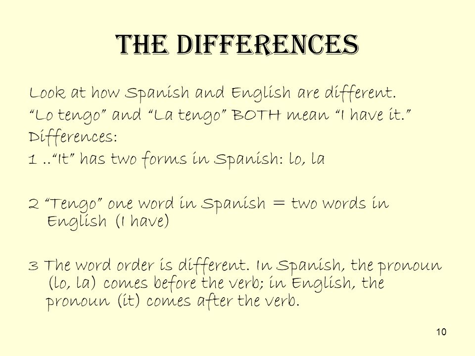 The Differences Look at how Spanish and English are different.