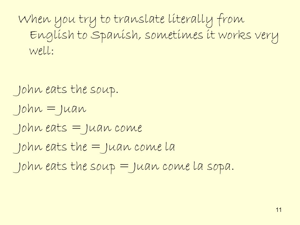 When you try to translate literally from English to Spanish, sometimes it works very well: