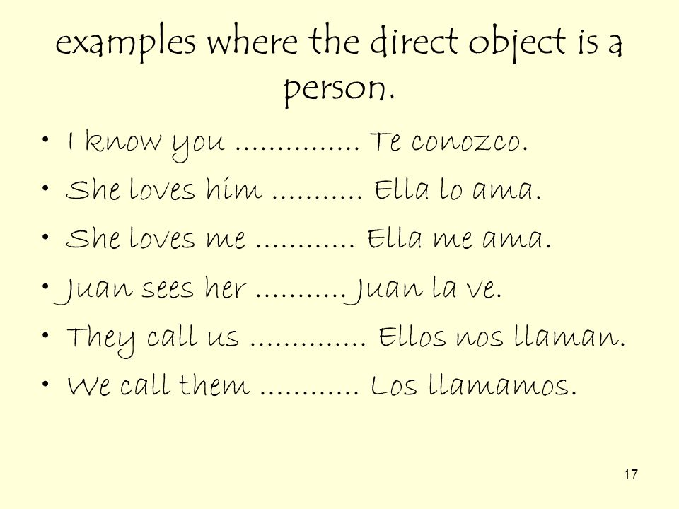 examples where the direct object is a person.