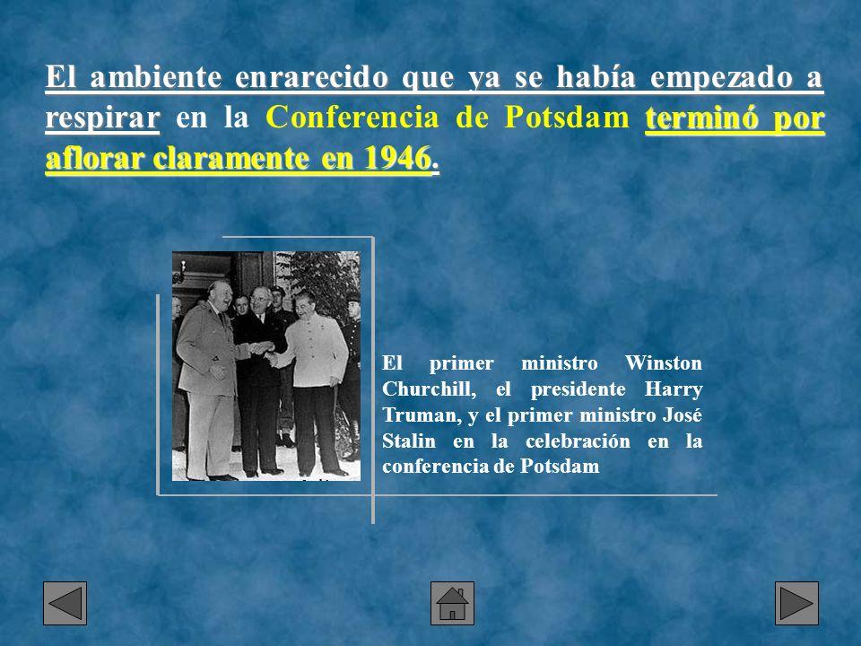 El ambiente enrarecido que ya se había empezado a respirar en la Conferencia de Potsdam terminó por aflorar claramente en 1946.