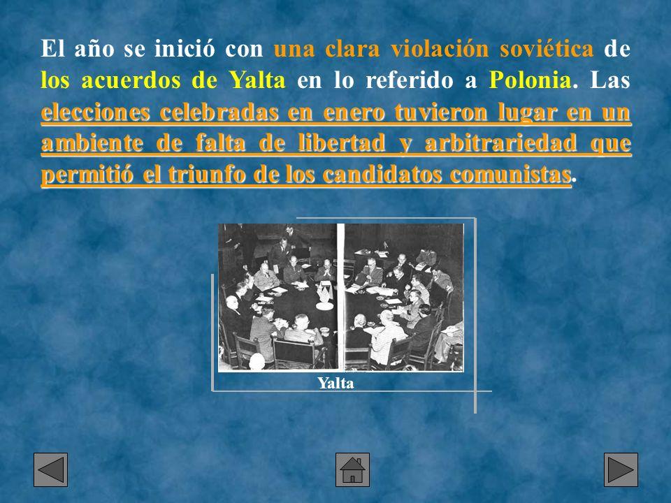 El año se inició con una clara violación soviética de los acuerdos de Yalta en lo referido a Polonia. Las elecciones celebradas en enero tuvieron lugar en un ambiente de falta de libertad y arbitrariedad que permitió el triunfo de los candidatos comunistas.