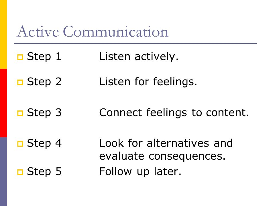 Active Communication Step 1 Listen actively.