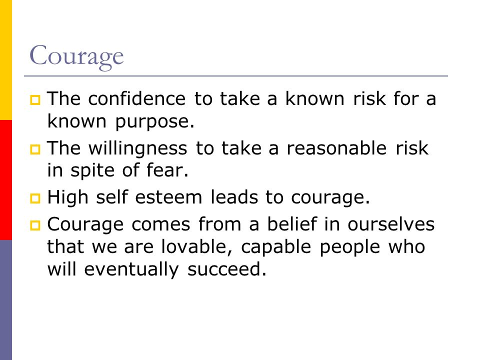 Courage The confidence to take a known risk for a known purpose.