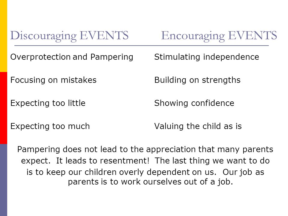 Discouraging EVENTS Encouraging EVENTS