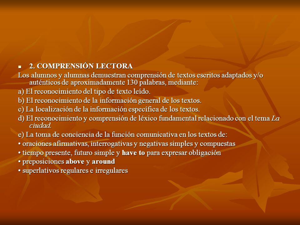 2. COMPRENSIÓN LECTORA