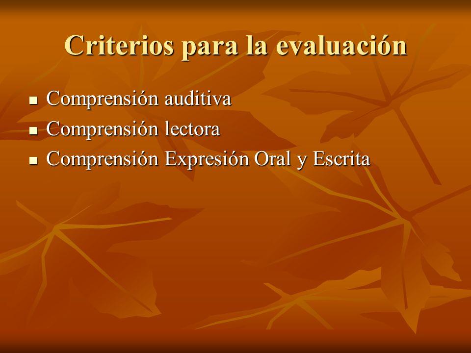 Criterios para la evaluación