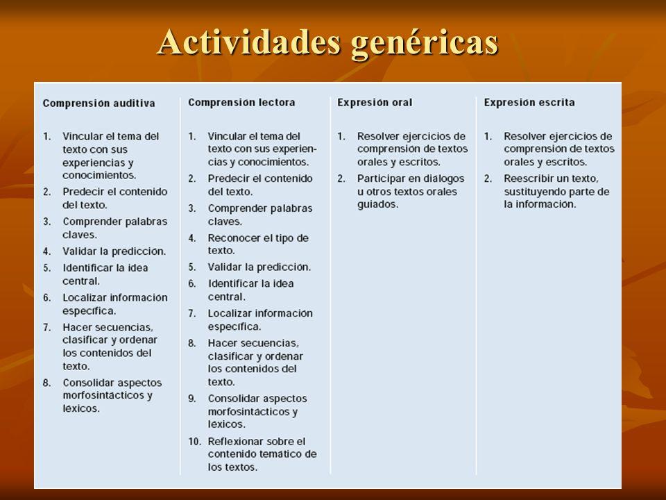 Actividades genéricas