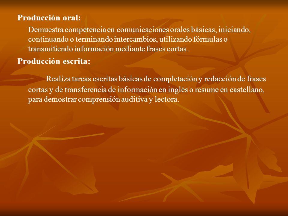 Producción oral: