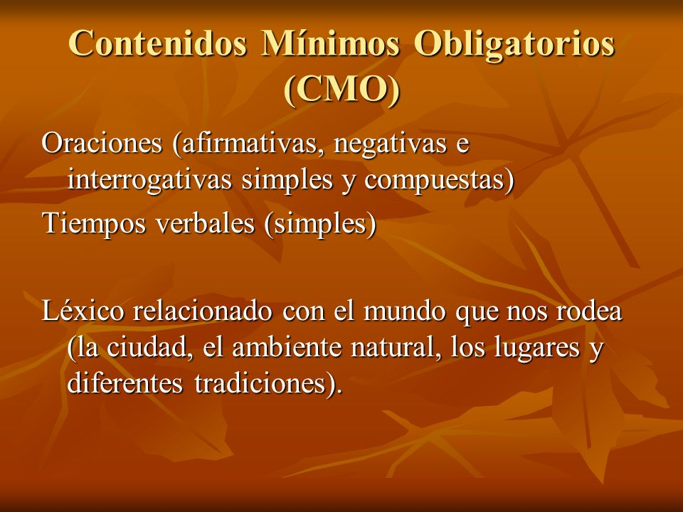 Contenidos Mínimos Obligatorios (CMO)