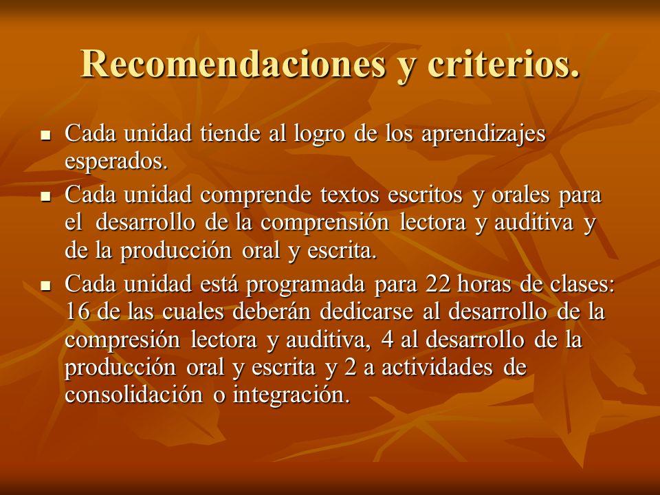 Recomendaciones y criterios.