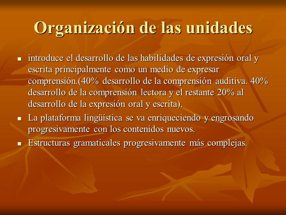 Organización de las unidades