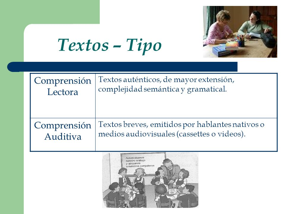 Textos – Tipo Comprensión Lectora Comprensión Auditiva