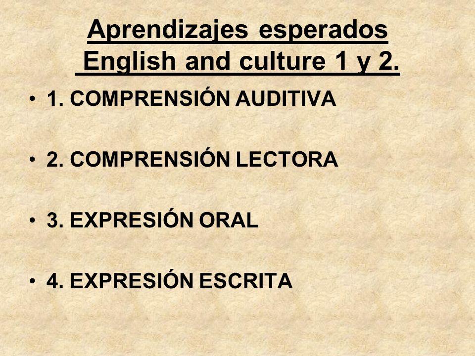 Aprendizajes esperados English and culture 1 y 2.