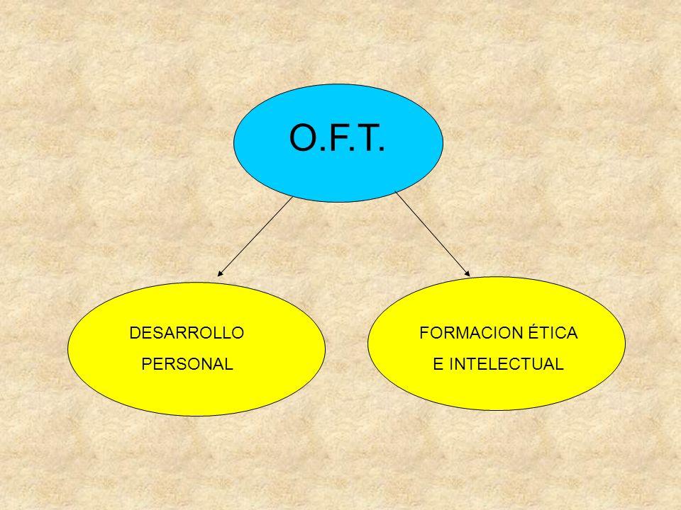 O.F.T. DESARROLLO PERSONAL FORMACION ÉTICA E INTELECTUAL