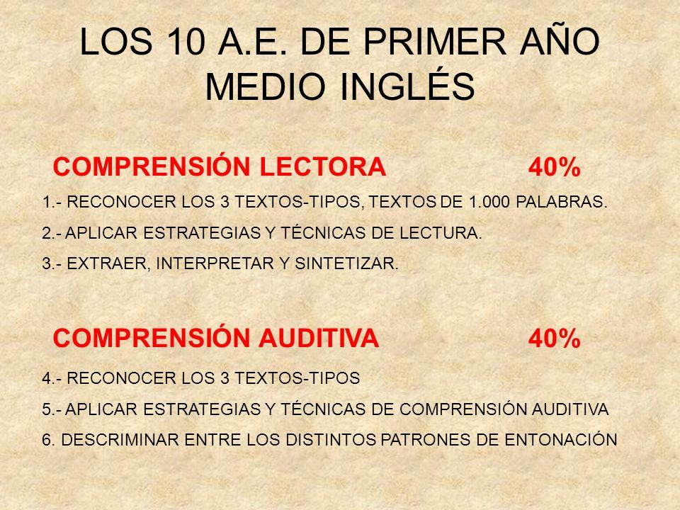 LOS 10 A.E. DE PRIMER AÑO MEDIO INGLÉS