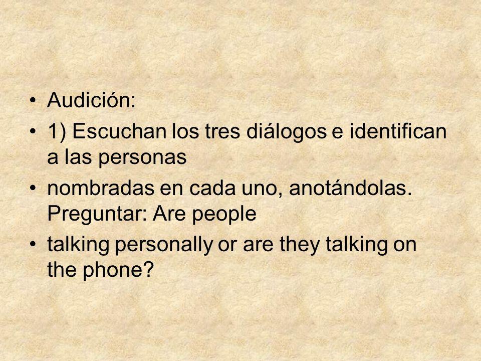 Audición:1) Escuchan los tres diálogos e identifican a las personas. nombradas en cada uno, anotándolas. Preguntar: Are people.