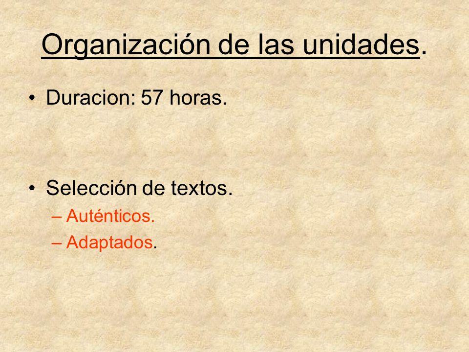 Organización de las unidades.