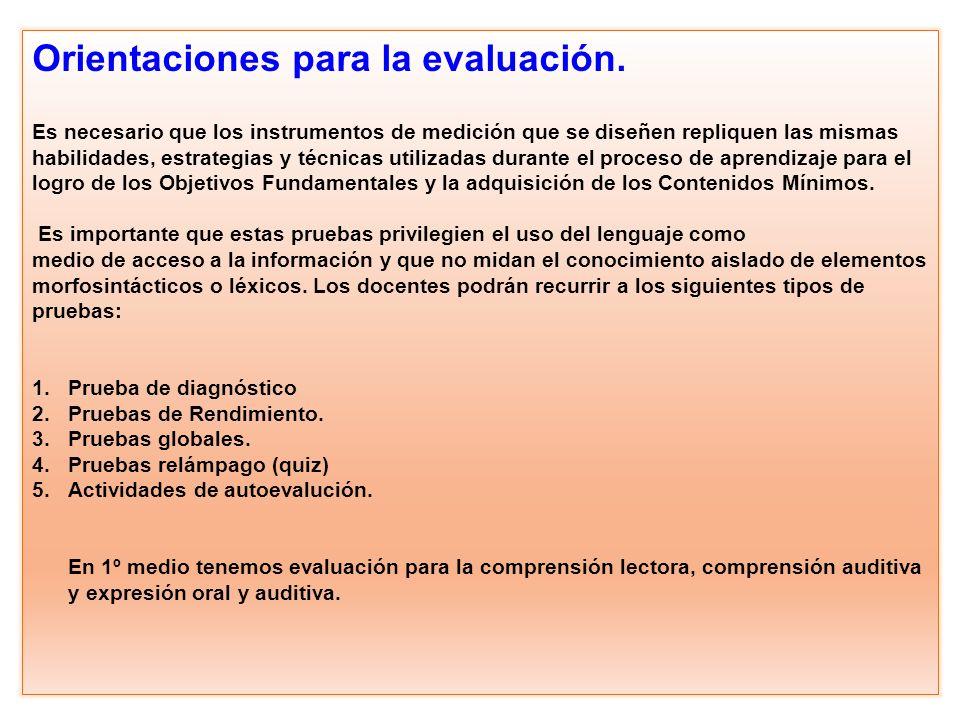 Orientaciones para la evaluación.