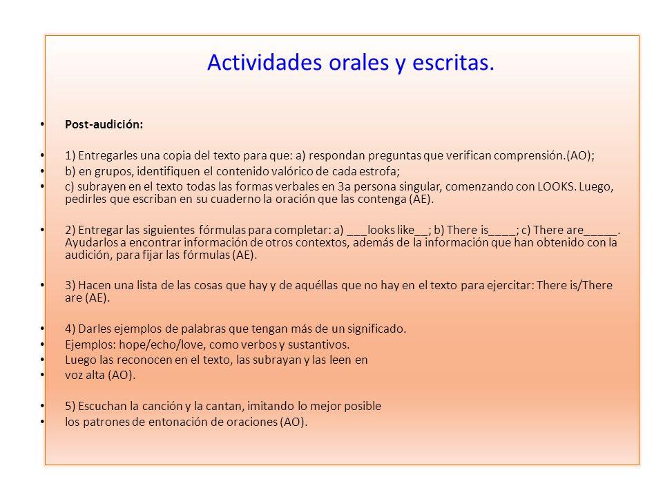 Actividades orales y escritas.