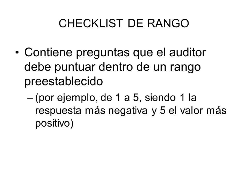 CHECKLIST DE RANGO Contiene preguntas que el auditor debe puntuar dentro de un rango preestablecido.