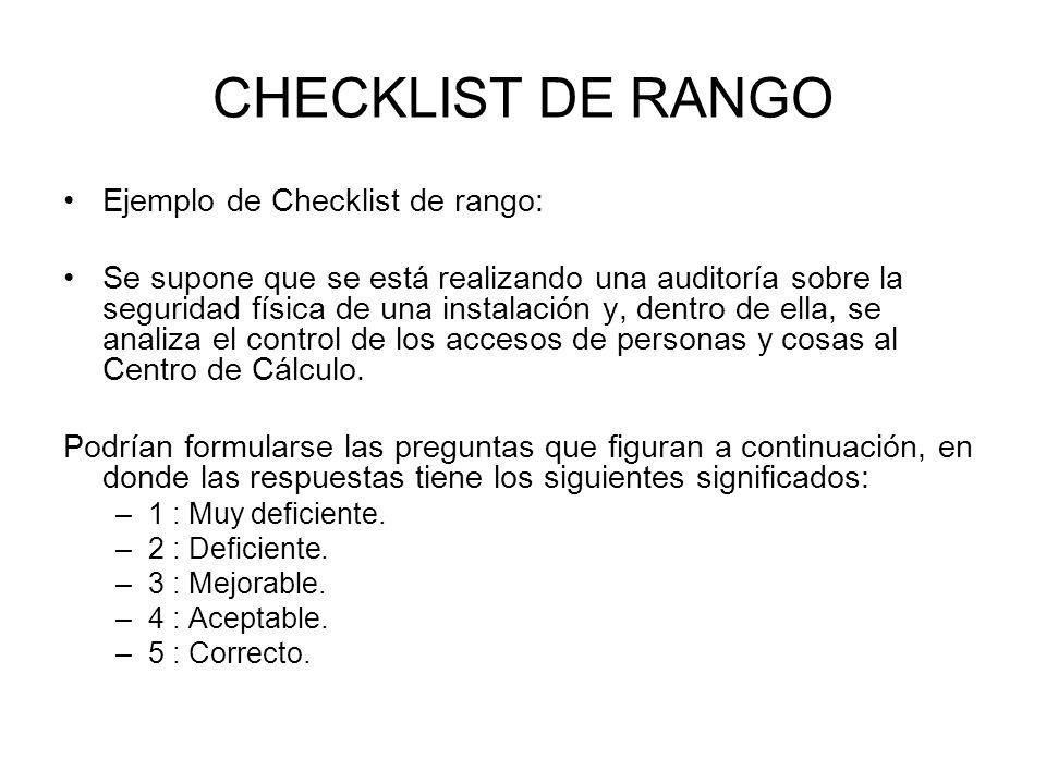 CHECKLIST DE RANGO Ejemplo de Checklist de rango: