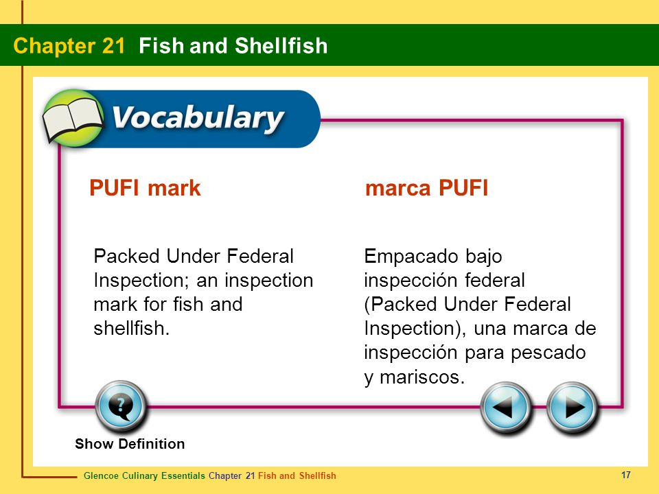 PUFI mark marca PUFIPacked Under Federal Inspection; an inspection mark for fish and shellfish.