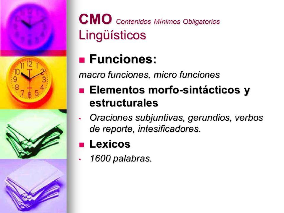 CMO Contenidos Mínimos Obligatorios Lingüísticos