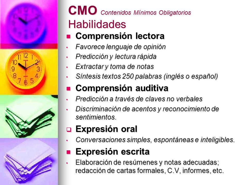CMO Contenidos Mínimos Obligatorios Habilidades