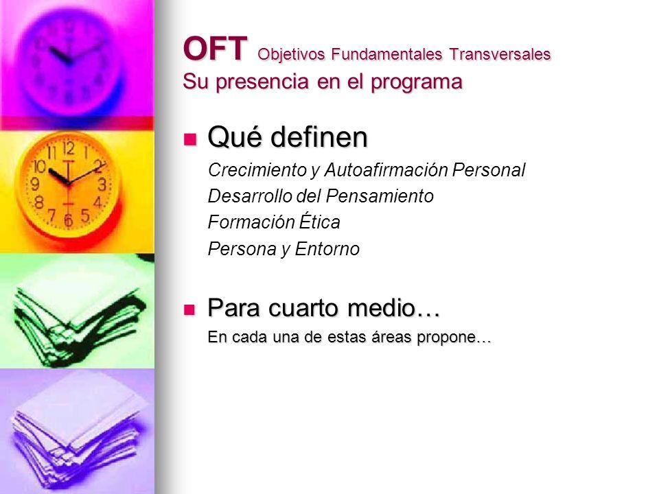 OFT Objetivos Fundamentales Transversales Su presencia en el programa