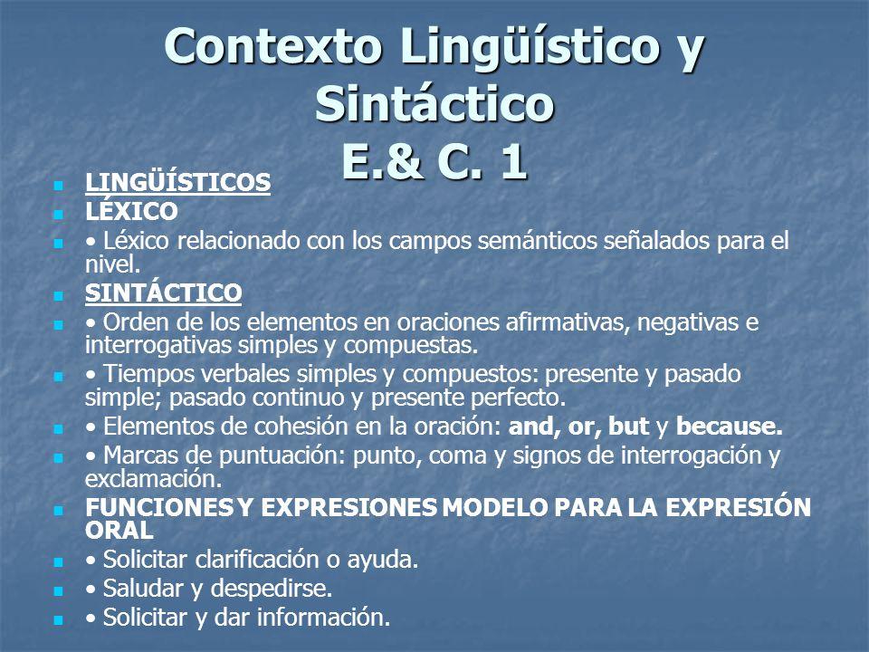 Contexto Lingüístico y Sintáctico E.& C. 1