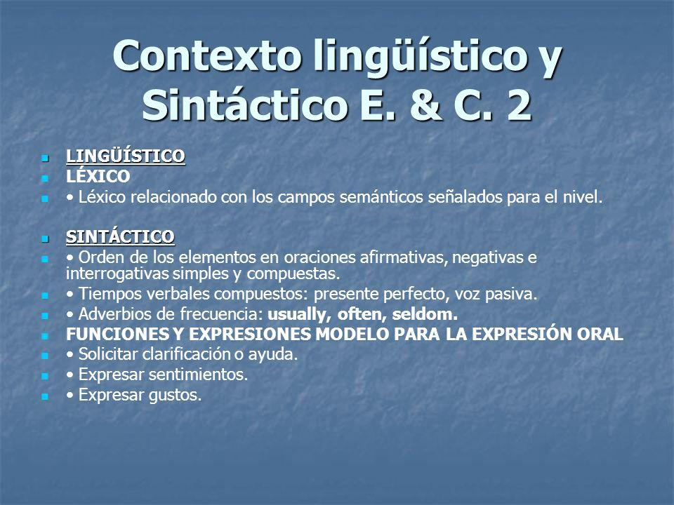 Contexto lingüístico y Sintáctico E. & C. 2