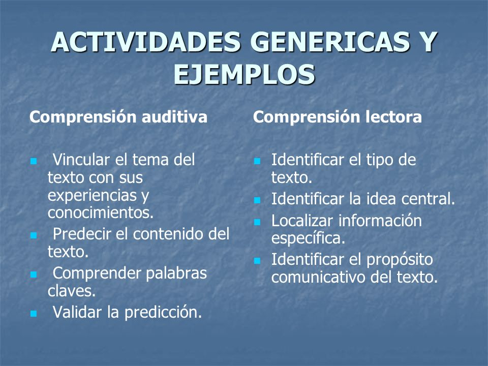 ACTIVIDADES GENERICAS Y EJEMPLOS