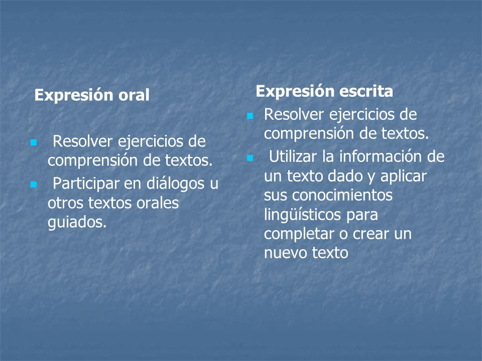 Expresión escrita Resolver ejercicios de comprensión de textos.