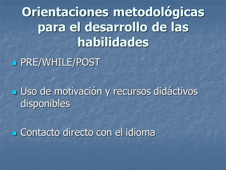 Orientaciones metodológicas para el desarrollo de las habilidades