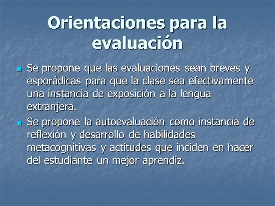 Orientaciones para la evaluación
