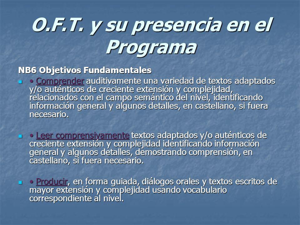 O.F.T. y su presencia en el Programa