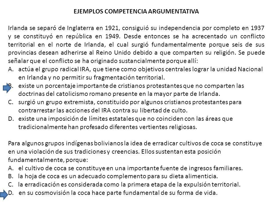 EJEMPLOS COMPETENCIA ARGUMENTATIVA