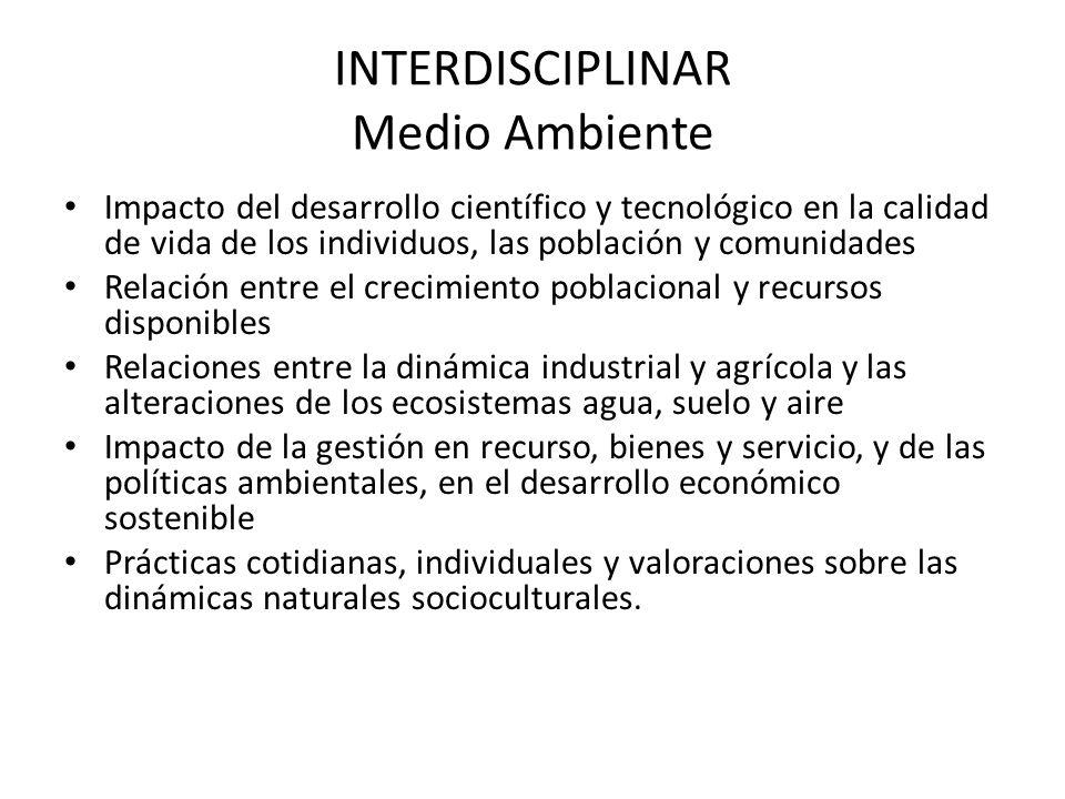 INTERDISCIPLINAR Medio Ambiente