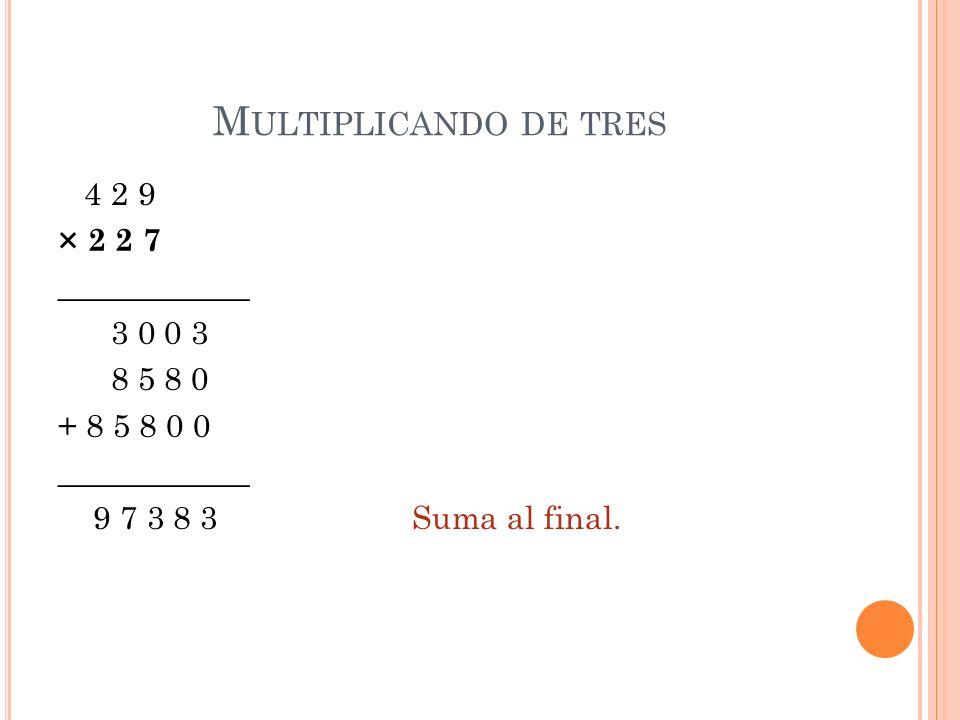 Multiplicando de tres4 2 9 × 2 2 7 ____________ 3 0 0 3 8 5 8 0 + 8 5 8 0 0 9 7 3 8 3 Suma al final.
