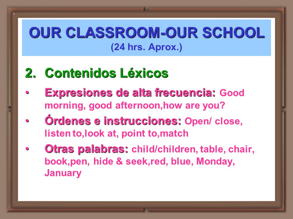 OUR CLASSROOM-OUR SCHOOL (24 hrs. Aprox.)
