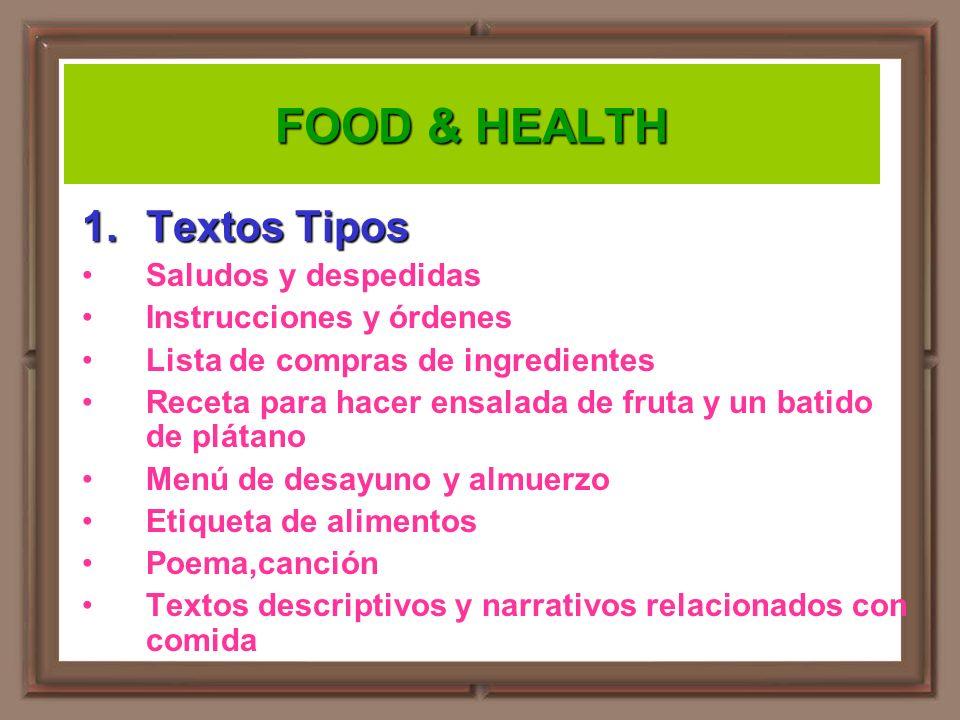 FOOD & HEALTH Textos Tipos Saludos y despedidas