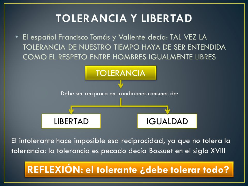 TOLERANCIA Y LIBERTAD REFLEXIÓN: el tolerante ¿debe tolerar todo