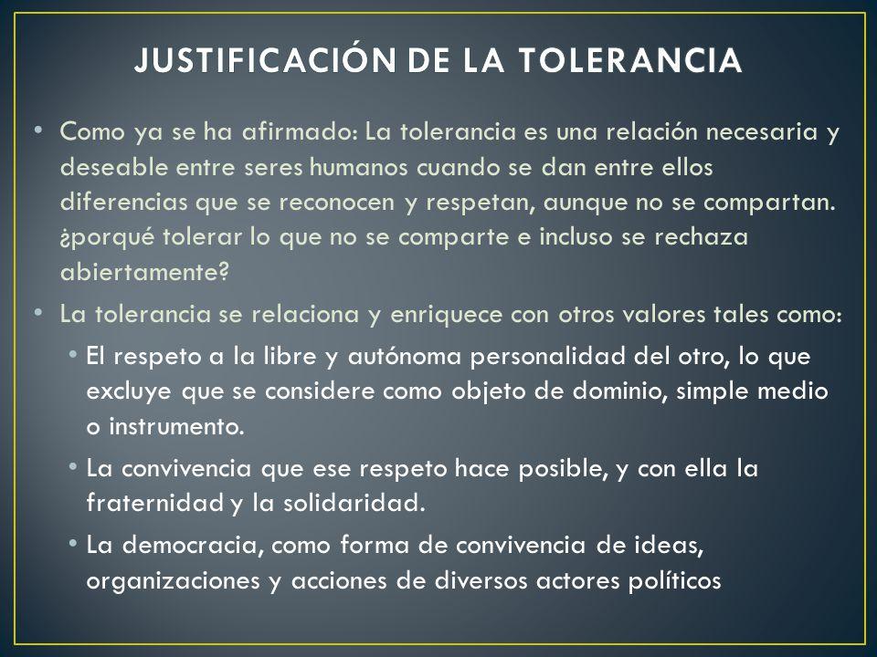 JUSTIFICACIÓN DE LA TOLERANCIA