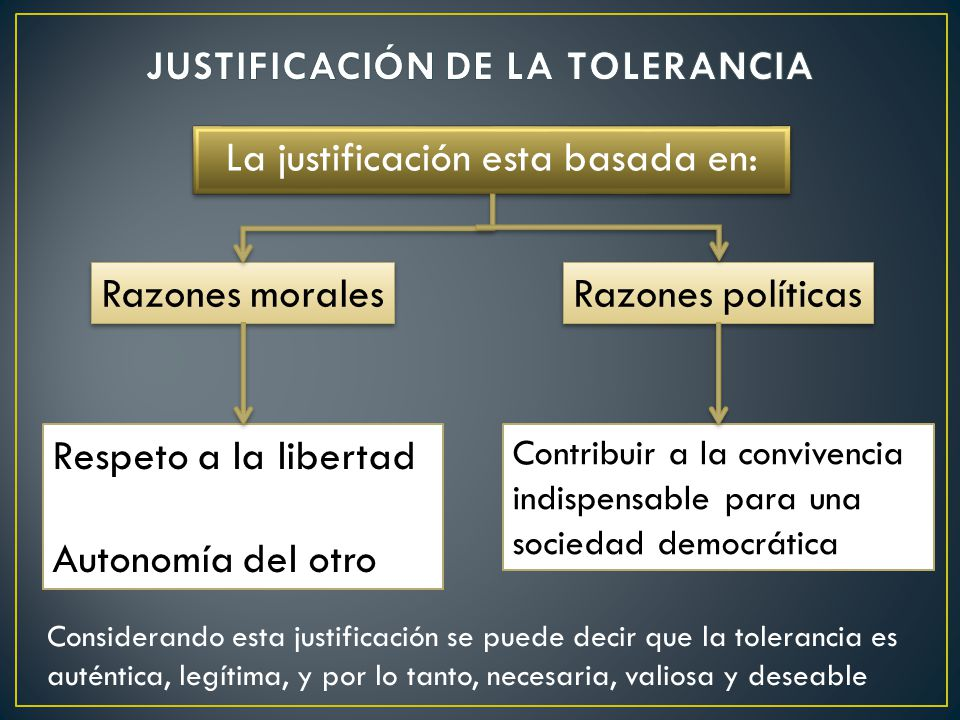 JUSTIFICACIÓN DE LA TOLERANCIA